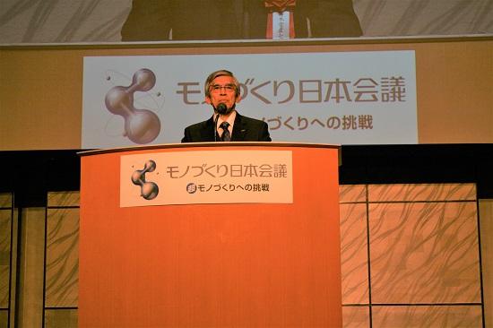 受賞者代表挨拶に立った日本電産シンポ 井上氏